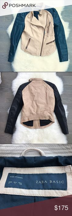 Zara Fitted Leather Camel & Black Moto Jacket Tan and black leather moto jacket. Real leather. Fitted silhouette. Perfect condition. NO TRADES. Zara Jackets & Coats
