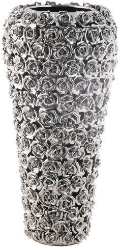 KARE Design Glänzende Vase Rose Multi Chrom Big mit Rosenmotiv, die in exklusiver Handarbeit aus Porzellan gefertigt wurde. #KARE #KAREDesign