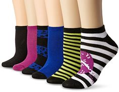 Betsey Johnson Women's Lips and Stripes Low Cut Socks 6 P...