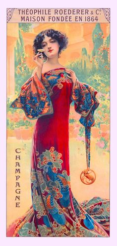 1894 Peacock Series I Woman Red Vintage French Nouveau Poster Advertisement  | eBay