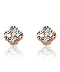 Vintage classic n versatile . . . Little Miss Twin Stars Cubic Zirconia & Rose Goldtone Clover Earrings.