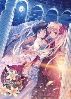 ✮ ANIME ART ✮ wedding. . .bridal. . .brides. . .wedding dresses. . .ruffles. . .gloves. . .long hair. . .twin tails. . .ponytail. . .hair ribbons. . .tiara. . .crown. . .veil. . .bouquet. . .flower petals. . .moon. . .night sky. . .kawaii