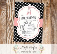 Black and White Polka Dots Ballet Ballerina Pink Birthday or Baby Shower Invitation - choose your colors and wording