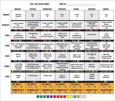 21 Day Fix Plan Menu Week 2 - 1200-1499 calorie menu