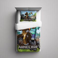#43+Minecraft+Creeper+Custom+Fleece+Blanket/+Pillow+Case+Bed+Set+Bedding+Single/+Twin