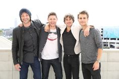 Pin for Later: Jensen Ackles and Jared Padalecki Couldn't Have Been Cuter at Comic-Con  The guys made diehard CW fans' day when they hung out with Ian Somerhalder and Paul Wesley from The Vampire Diaries.