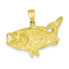 14K Gold Bass Fish Charm Fishing Jewelry Pendant  AwesomeFishingClothing.com brings you the best selection of fishing clothing, apparel and gear the internet has available!