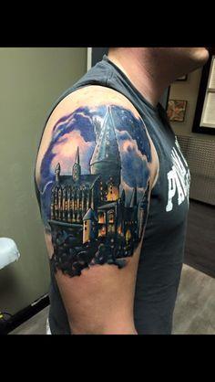 Beginning of my Harry Potter sleeve. Hogwarts Castle Tattoo. Simply amazing.