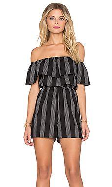 296a20f3de Lucca Couture Striped Off Shoulder Romper in Black   White Stripes Off  Shoulder Romper