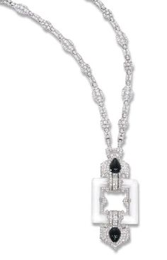 AN ART DECO DIAMOND, ROCK CRYSTAL AND ONYX PENDANT, BY CARTIER AND DIAMOND SAUTOIR  The openwork rock crystal square with pavé-set diamond oriental motifs each set with a drop-shaped onyx to the later geometric link diamond neckchain, also forming four bracelets, pendant circa 1925, pendant 8.9 cm. long, sautoir 78.7 cm. long  Pendant signed Cartier, no. 2511
