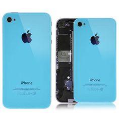 Tapa trasera de cristal para iPhone 4 y  4S en color azul turquesa