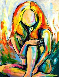 Figure painting abstract nude oil on canvas by Aja. Sagittarius Gallery