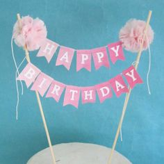 "Birthday Cake banner, Pink Ombre ""Happy birthday"" cake bunting topper I221…"