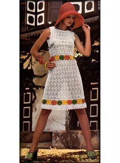 No.563 Crochet Dress Pattern PDF For Women Flower Motifs by TickTockKnits