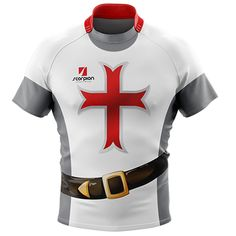 Rugby Tour Shirt in a knight theme from Scorpion Sports. Available in both junior and senior Rugby player sizes Rugby Jerseys, Football Shirts, Medieval Knight Costume, Sublime Shirt, Jersey Boys, Rugby Players, Workout Outfits, Polo Shirts, Shirt Designs