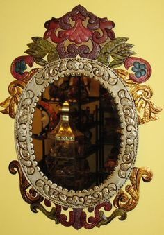 Painted Punched Tin Floral Mirror-  Mexican Folk Art