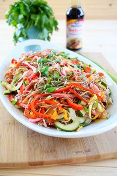 Soba Noodle Salad with Teriyaki Dressing - The Noshery