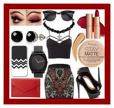 """""""Red and Black"""" by bella-claire1807 ❤ liked on Polyvore featuring Balmain, Charlotte Russe, Belk & Co., Rimmel, H&M, Neiman Marcus and plus size clothing"""