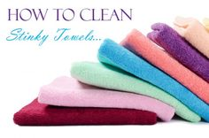 How to Get Rid of the Mildew Smell in Bath Towels Wash wit hot water, cup baking soda, and 10 drops tea tree oil Rinse with 1 cup vinegar Repeat wash/rinse (tea tree oil optional for the go round) Dry on hottest setting or dry outside in direct sunlight Bath Towels, Clean Stinky Towels, Cleaning Hacks, Cleaning Supplies, Cleaning Schedules, Norwex Cloths, Natural Cleaning Products, Washing Clothes, Tejidos