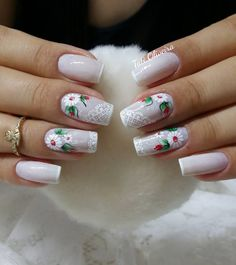 Love the nails w/o the design, color is so pretty w/ just a hint of white tip❣️❣️❣️ Holiday Nails, Christmas Nails, Cute Nails, Pretty Nails, Basic Nails, Nail Jewels, Cute Nail Designs, Red Nails, Nail Arts