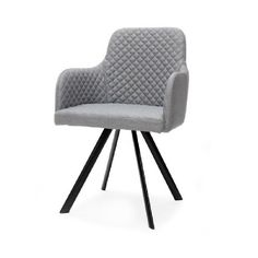 Eetkamerstoel Hogith grijs is een stijlvolle stoel voor in de eetkamer. De stoel heeft een mooie strakke vormgeving. Het diamantpatroon op de stoffen zitting en aan de binnenkant van de rugleuning geven de stoel een chique uitstraling. Hogith heeft heerlijke armleuningen die het zitcomfort verhogen. Het onderstel is van de stoel gemaakt van zwart metaal. Deze comfortabele eetkamerstoel is naast grijs ook leverbaar in antraciet.