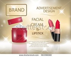 Glamorous colorful lipstick and facial cream  on the  sparkling effects background. Mockup 3D Realistic Vector illustration for design, template