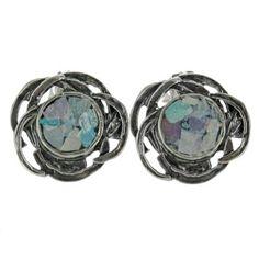 Sterling Silver Roman Glass Round Flower Cutout Post Earrings