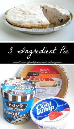 Bake Dessert: Cookies and Cream Pie No bake dessert and you only 3 ingredients to make this pie!No bake dessert and you only 3 ingredients to make this pie! Cold Desserts, Easy No Bake Desserts, Frozen Desserts, Cookie Desserts, Ice Cream Desserts, Apple Desserts, Baking Desserts, Baking Cookies, Cheesecake Desserts