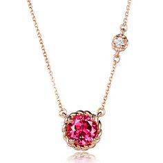 Classic 1.01ct Natural Pink Tourmaline in 18K Gold Pendant by CHARMES Jewellery