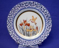 BEAUTIFUL VINTAGE THE ART OF CHOKIN JAPANESE PLATE WITH IRISES & HUMMINGBIRD-24K