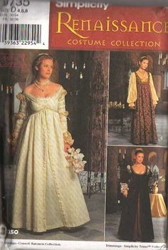 MOMSPatterns Vintage Sewing Patterns - Simplicity 8735 Discontinued Halloween Costume Pattern Ever After Low Cut Empire Waist Wedding Dress, Nobel Gown SCA Game of Thrones 4-8