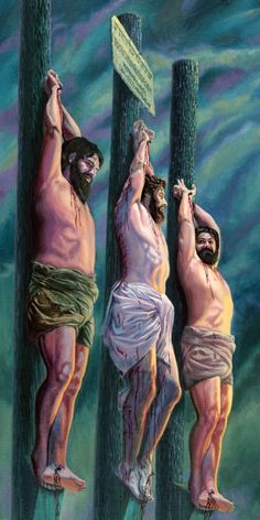 Jesus on a torture stake, between two criminals Meaningful Pictures, Bible Pictures, Jesus Is Lord, Hannah Bible, Beast Of Revelation, Pictures Of Jesus Christ, Bible Illustrations, Cool Tattoos For Guys, Christian Posters