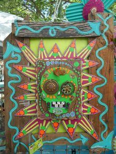 "Artist: Deidra Smith - ""Skull Head 30"" X 25"" upcycle wood painted with acrylic paints"""