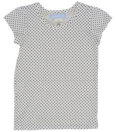 Camiseta top para niña topos azules confeccionado con algodon ecologico. Este top es muy fresco y suave, ideal para el verano. Tu hija notara la diferencia