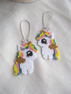Unicorn earrings Beaded alicorns Colofrul pegasus Seed bead