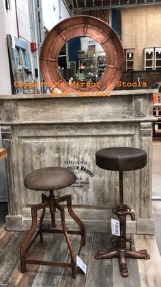 New copper tone adjustable height barstools with full grain leather seats Rustic Wood Furniture, Leather Seats, Online Furniture Stores, Foot Rest, Bar Stools, Counter, Solid Wood, Upholstery, Chairs