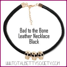 Bad to the Bone Leather Necklace Black  #black #skulls #leather #gold #necklace #jewelry #shopping #gift #giftidea #womangiftidea #girlfriendgift #holidaygift #holiday #christmaspresent #present