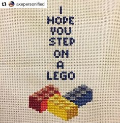 @axepersonified has a growing number of groovy cross stitches in her feed and I like them a lot but this one... Well that's just mean. #regram Keep bangin' them out! #crossstitch #diy #bxcustomsewn #lego #xstitch #creativityfound #mrxstitch via The Mr X Stitch official Instagram Share your stitchy 'grams with us - @mrxstitch #xstitchersofinstagram #mrxstitch
