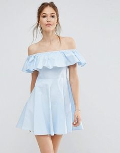 DESIGN scuba bardot double ruffle pleated mini dress - Ivory Asos pdt5Y