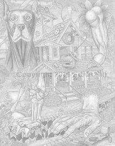 Dr. Applehead's Party Pad #pencildrawing #surreal #fantasy #fineart #blackandwhite