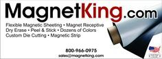 The worlds largest selection of printed white magnet sheet and roll, matte vinyl surface in many colors, magnetic letters and numbers, cheap signs material.