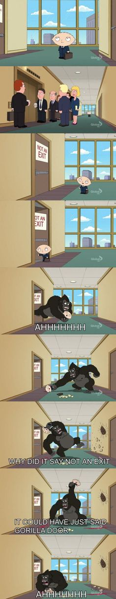 "When Stewie picked the wrong door. | Just A Reminder That ""Family Guy"" Is Hilarious"