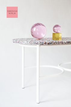 Eye Candy sofa table top is hand made from up-cycled cosmetic bottles. Cosmetic Bottles, Plastic Waste, Candy Table, Upcycle, Eye Candy, Sofa, Recycling, Powder, Journey