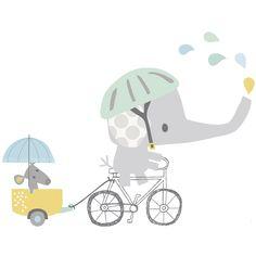 Sticker éléphant à vélo Smile, It's raining by Dawn Machell