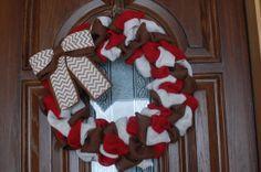 $30.00 Red, Cream and Chocolate Brown Burlap Wreath Front Door Wreath Home Decor Gift