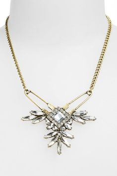 Spring Street 'Safety Pin' Crystal Necklace