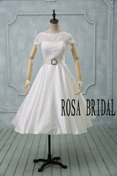 Lace wedding dress tea length short sleeve, Tea length wedding dress ivory, Ivory bridal dress lace, Lace wedding dress custom size