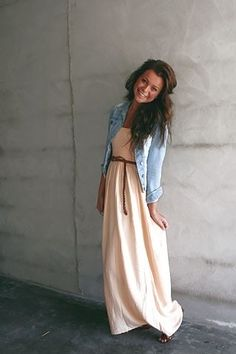 long summer dress - love the combo of chambray with the light peachy-pink