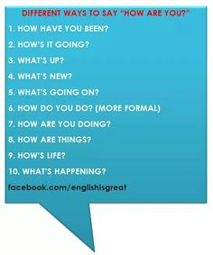 different ways of saying How are you?