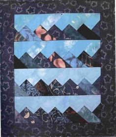 Sew Many Peaks quilt pattern by Castilleja Cotton.  A French braid variation that looks like mountains.